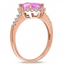 Oval Pink Sapphire & Halo Diamond Engagement Ring 14k Rose Gold 3.57ct