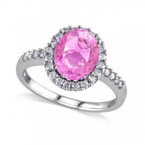 Oval Pink Sapphire & Halo Diamond Engagement Ring 14k White Gold 3.57ct
