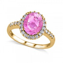 Oval Pink Sapphire & Halo Diamond Engagement Ring 14k Yellow Gold 3.57ct