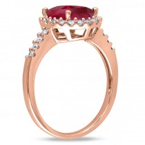 Oval Ruby & Halo Diamond Engagement Ring 14k Rose Gold 3.57ct