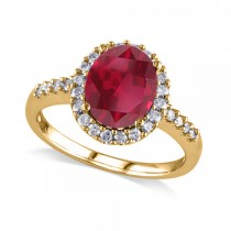 Oval Ruby & Halo Diamond Engagement Ring 14k Yellow Gold 3.57ct