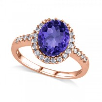 Oval Tanzanite & Halo Diamond Engagement Ring 14k Rose Gold 3.57ct