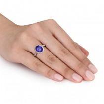 Oval Tanzanite & Halo Diamond Engagement Ring 14k Rose Gold 3.57ct