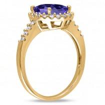 Oval Tanzanite & Halo Diamond Engagement Ring 14k Yellow Gold 3.57ct
