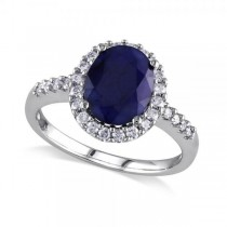 Oval Blue Sapphire & Halo Diamond Engagement Ring 14k W. Gold (3.92ct)