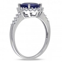 Oval Blue Sapphire & Halo Diamond Engagement Ring 14k W. Gold (3.92ct)|escape