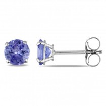 Round Cut Solitaire Tanzanite Stud Earrings in 14k White Gold (1.10ct)