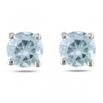 Round Cut Solitaire Aquamarine Stud Earrings in 14k White Gold 0.80ct