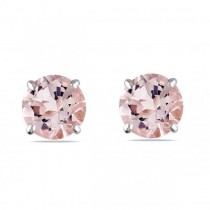 Round Cut Solitaire Morganite Stud Earrings in 14k White Gold (1.00ct)