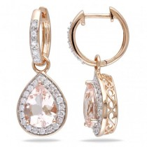Diamond & Pear Shaped Morganite Drop Earrings 14k Rose Gold (3.30ct)