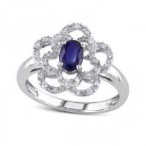 Blue Sapphire & Diamond Flower Fashion Ring in 14k White Gold (0.70ct)