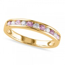 Channel Set Pink Sapphire & Diamond Wedding Band 14k Yellow Gold 0.62ct