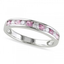 Channel Set Pink Sapphire & Diamond Wedding Band 14k White Gold 0.62ct