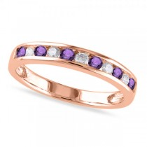 Channel Set Round Amethyst & Diamond Wedding Band 14k Rose Gold (0.50ct)