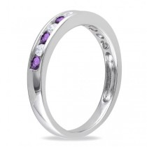 Channel Set Round Amethyst & Diamond Wedding Band 14k White Gold (0.50ct)
