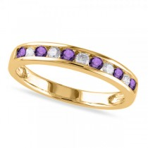 Channel Set Round Amethyst & Diamond Wedding Band 14k Yellow Gold (0.50ct)