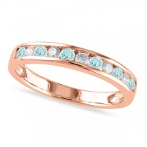 Channel Set Round Aquamarine & Diamond Wedding Band 14k Rose Gold (0.50ct)