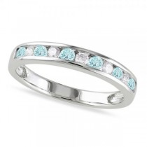 Channel Set Round Aquamarine & Diamond Wedding Band 14k White Gold (0.50ct)