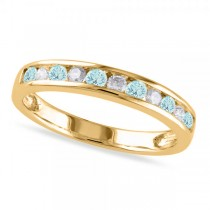Channel Set Round Aquamarine & Diamond Wedding Band 14k Yellow Gold (0.50ct)