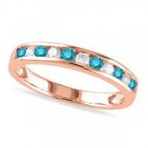 Channel Set Blue & White Diamond Wedding Band 14k Rose Gold (0.44ct)