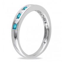 Channel Set Blue & White Diamond Wedding Band 14k White Gold (0.44ct)