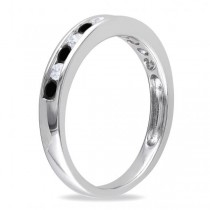 Channel Set Black & White Diamond Wedding Band 14k White Gold (0.44ct)