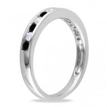 Channel Set Black & White Diamond Wedding Band 14k White Gold (0.44ct)