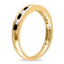 Channel Set Black & White Diamond Wedding Band 14k Yellow Gold (0.44ct)