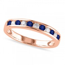 Channel Set Round Blue Sapphire & Diamond Wedding Band 14k Rose Gold (0.62ct)