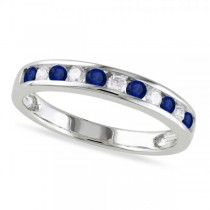 Channel Set Round Blue Sapphire & Diamond Wedding Band 14k White Gold (0.62ct)