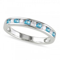 Channel Set Round Blue Topaz & Diamond Wedding Band 14k White Gold (0.50ct)