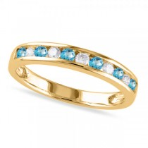 Channel Set Round Blue Topaz & Diamond Wedding Band 14k Yellow Gold (0.50ct)