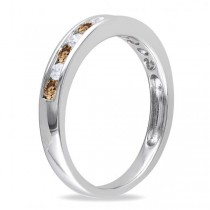 Channel Set Champagne & White Diamond Wedding Band 14k White Gold (0.44ct)