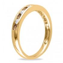 Channel Set Champagne & White Diamond Wedding Band 14k Yellow Gold (0.44ct)