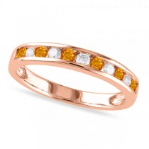 Channel Set Round Citrine & Diamond Wedding Band 14k Rose Gold (0.50ct)