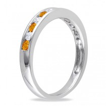 Channel Set Round Citrine & Diamond Wedding Band 14k White Gold (0.50ct)
