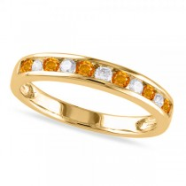 Channel Set Round Citrine & Diamond Wedding Band 14k Yellow Gold (0.50ct)