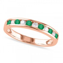 Channel Set Round Emerald & Diamond Wedding Band 14k Rose Gold (0.56ct)