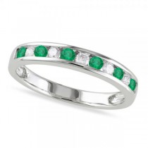 Channel Set Round Emerald & Diamond Wedding Band 14k White Gold (0.56ct)