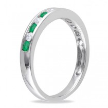 Channel Set Round Emerald & Diamond Wedding Band 14k White Gold (0.56ct)|escape
