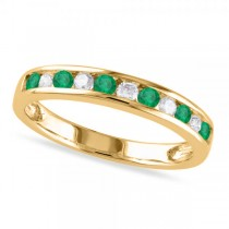Channel Set Round Emerald & Diamond Wedding Band 14k Yellow Gold (0.56ct)