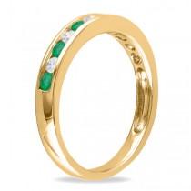 Channel Set Round Emerald & Diamond Wedding Band 14k Yellow Gold (0.56ct)