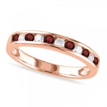 Channel Set Round Garnet & Diamond Wedding Band 14k Rose Gold (0.56ct)