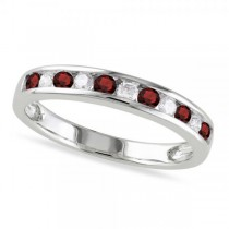 Channel Set Round Garnet & Diamond Wedding Band 14k White Gold (0.56ct)