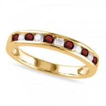 Channel Set Round Garnet & Diamond Wedding Band 14k Yellow Gold (0.56ct)