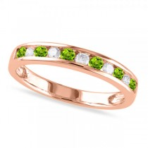 Channel Set Round Peridot & Diamond Wedding Band 14k Rose Gold (0.56ct)