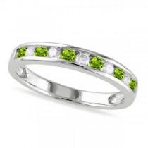 Channel Set Round Peridot & Diamond Wedding Band 14k White Gold (0.56ct)
