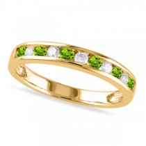 Channel Set Round Peridot & Diamond Wedding Band 14k Yellow Gold (0.56ct)
