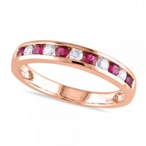 Channel Set Round Ruby & Diamond Wedding Band 14k Rose Gold (0.62ct)