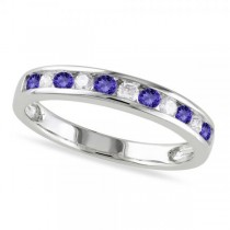 Channel Set Round Tanzanite & Diamond Wedding Band 14k White Gold (0.62ct)